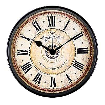 JUSTUP Wall Clock, 12 inch Metal Black Wall Clock European Style Retro Vintage Clock Non - Ticking Whisper Quiet Battery Operated with HD Glass Easy to Read for Indoor Decor (Black 12') - SILENT QUARTZ MECHANISMS! Our clocks are very quiet. No annoying ticking!! Our clocks sit flat against the wall and do not wobble. The mechanisms are as recessed as possible, which makes for a nicely finished product. GOOD VIEW:With large Roman Numbers and HD glass guarantee good view. HIGH QUALITY MOVEMENT: Sweep & skip movement-Highly accurate quartz movement, silent non-ticking sounds. - wall-clocks, living-room-decor, living-room - 51wVrvXHorL. SS400  -