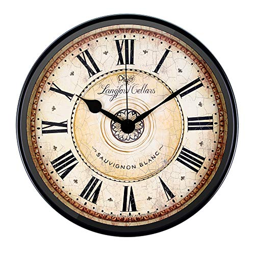- Justup Wall Clock, 12 inch Metal Black Wall Clock European Style Retro Vintage Clock Non - Ticking Whisper Quiet Battery Operated with HD Glass Easy to Read for Indoor Decor (Black 12')