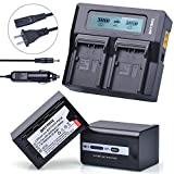 Batmax 2Pcs VW-VBD58 VW-VBD78 Battery Packs 5800mAh+ 3X Faster LCD Display Dual Charger Car Plug for Panasonic VW-VBD58 VW-VBD29 AG-DVX200,AG-AC8,HC-MDH2,HC-X1000 4K,HDC-Z10000