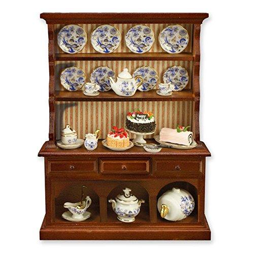 Dollhouse Miniature Kitchen Hutch w/Blue Onion Dishes by Reutter Porcelain (Blue Kitchen Hutch)