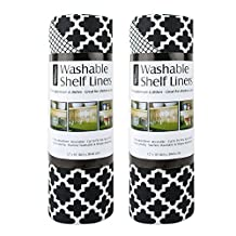 """DII Non Adhesive Cut to Fit Machine Washable Shelf Liner Paper For Cabinets, Kitchen Shelves, Drawers,  Set of 2, 12 x 10"""" - Black Lattice"""
