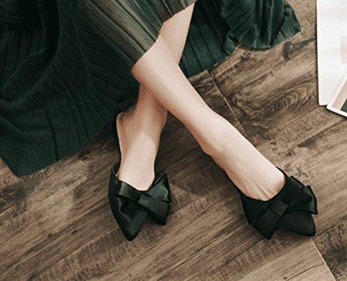 Awxjx estate sandali sandali estate da papillon a punta Baotou Half Drag piatto con casual, donna, Nero, 5.5 US/35.5 EU/3/UK Nero 123677