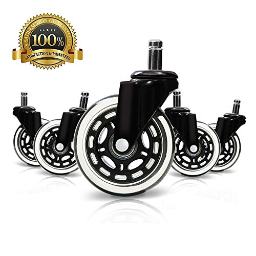 DGQ Office Chair Caster Wheels 3'' - Set of 5 Heavy Duty & Safe for All Floors Including Hardwood - Rollerblade Style Universal Fit by DGQ