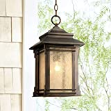 Hickory Point Rustic Outdoor Ceiling Light Hanging Lantern Walnut Bronze 19 1/4' Frosted Glass Damp Rated for Porch Patio - Franklin Iron Works