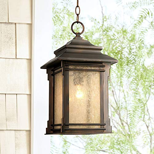 "Hickory Point Rustic Outdoor Ceiling Light Hanging Lantern Walnut Bronze 19 1/4"" Frosted Glass Damp Rated for Porch Patio - Franklin Iron Works"