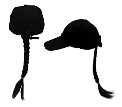 Amazon.com  Joke Novelty Baseball Hat with Long Black Braided ... b0643f18182