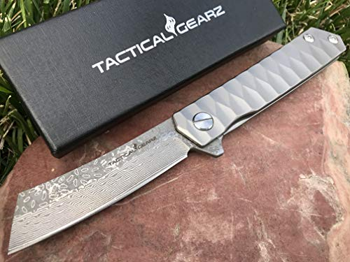 - TG Saint X, Damascus Blade! Full Tc4 Titanium Handle! Premium EDC Folding Knife! Fast Ball Bearing System, Straight Razor Style!