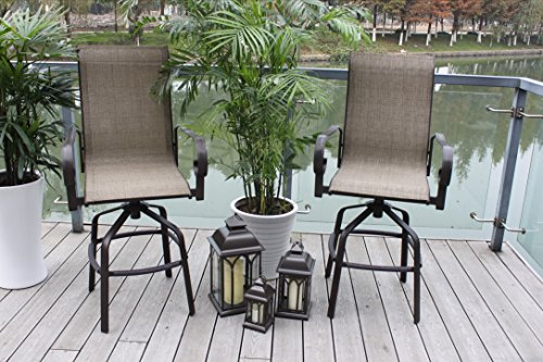 Pebble Lane Living Set of 2 Santa Monica Powder-Coated Bronze Outdoor Swivel Sling Patio Bar Stools - Seats - 25 Stool Outdoor Swivel Bar