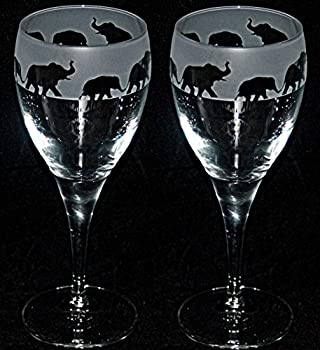 ELEPHANT FRIEZE - Boxed Pair of Wine Glasses with Elephant design
