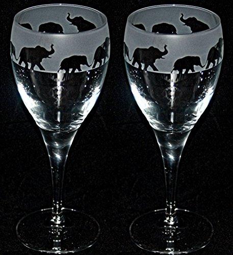 Engraved Elephant (ELEPHANT FRIEZE - Boxed Pair of Wine Glasses with Elephant design)