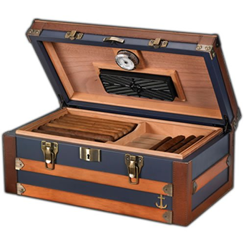 Humidor Supreme 'Admiral' 120 Cigar Blue Trunk Style Humidor, Leather, Solid wood Exterior 16'x9'x6' by Humidor Supreme