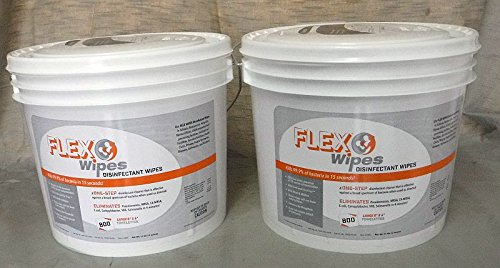 2 Tubs of 8''x 6'' Flex Wipes 800 ct ea roll Gym Disinfectant Fitness Equipment