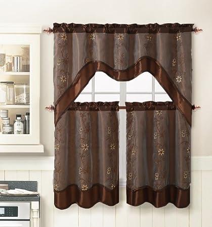 3 Piece Kitchen Window Curtain Treatment Set 2 Layer Embroidered Sheer Design