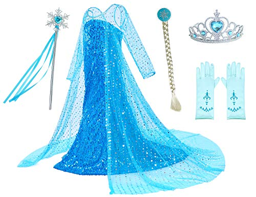 Luxury Princess Dress for Elsa Costumes with Shining Long Cap Girls Birthday Party 7-8 Years]()