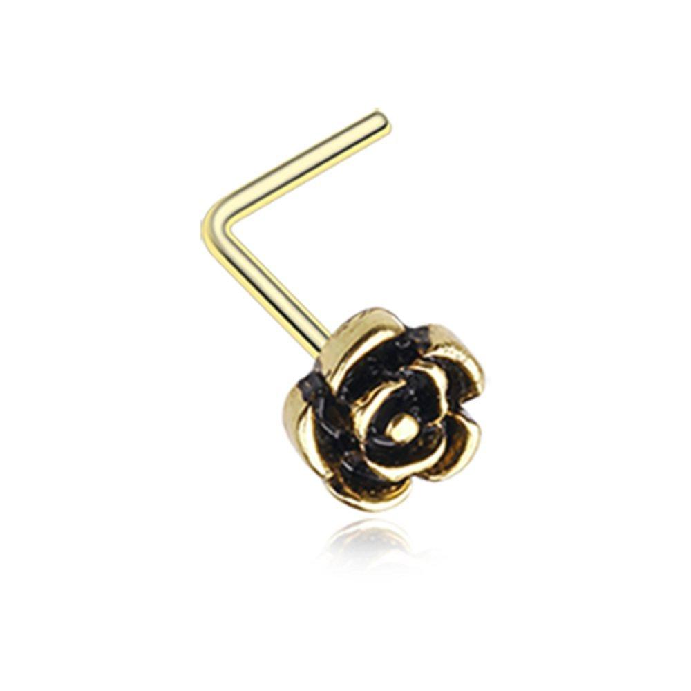 Vintage Rose Icon Nose Stud Ring 316L Surgical Steel