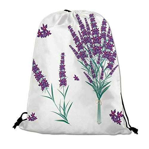 Lavender Lightweight Drawstring Bag,Aromatic Blossoms Bouquet from Provence France Fragrant Herbal Flora Decorative for Travel Shopping,One_Size ()