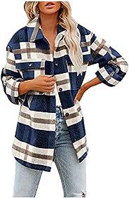ZJRXM Women's Long Sleeve Button Down Plaid Flannel Shirt Casual Color Block Boyfriend Shirt Coat Fall Blo
