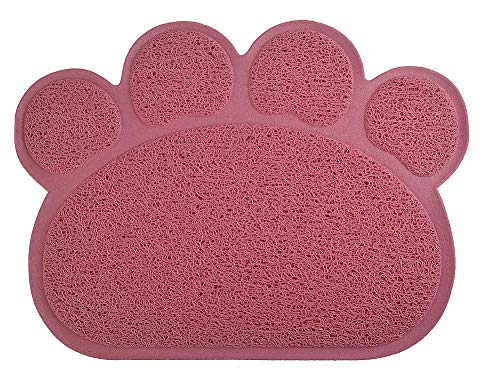 DM Paw-Shaped Cat Litter Box Mat,10 Colors Available,15.75×11.75 Inches