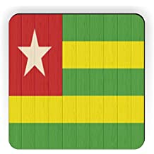Rikki Knight Togo Flag on Distressed Wood Design Square Fridge Magnet