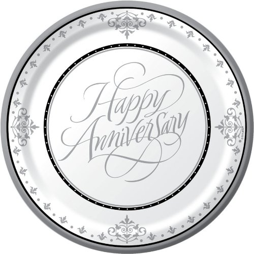 Creative Converting-Stafford Silver 25th Anniversary Plates (Dinner) Creative Party 439046M 7008