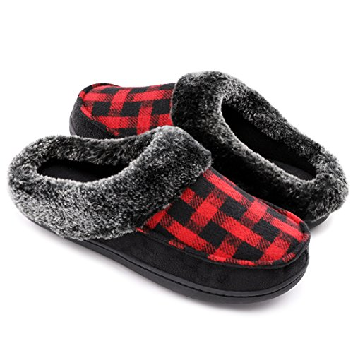 Indoor House Plush Slippers Micro Memory Suede Clog On Wool Women's Slip amp; Red Outdoor Foam RYw7dT