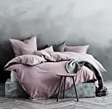 Mauve King Size Duvet Cover Eikei Washed Cotton Chambray Duvet Cover Solid Color Casual Modern Style Bedding Set Relaxed Soft Feel Natural Wrinkled Look (King, Mauve Lilac)
