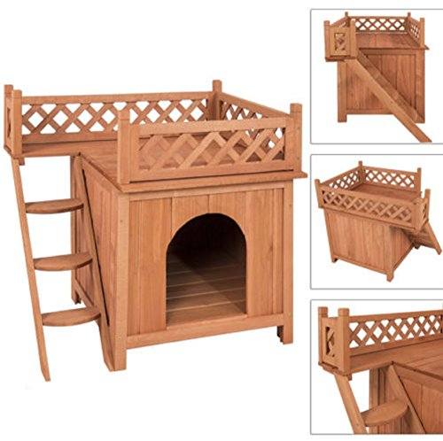 [Pet Wood Dogs House Outdoor Small Wooden Puppy Room Indor Roof Balcony Bed Shelter] (Spirit Walker Costume)