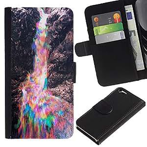 EJOY---La carpeta del tirón la caja de cuero de alta calidad de la PU Caso protector / Apple Iphone 6 / --Colorido rocas son Rainbow