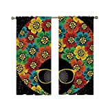 C COABALLA 70s Party Decorations Utility Shading Rod Curtain,Abstract Woman Portrait Hair Style with Flowers Sunglasses Lips Graphic Decorative for Home,110.2' W x 70.8' H