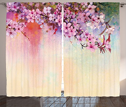 Ambesonne Watercolor Flower Home Decor Curtains, Asian Temperate Zone Branch Mass Wisteria Pollen Cultivar Artwork, Living Room Bedroom Window Drapes 2 Panel Set, 108W X 63L Inches, Multi ()