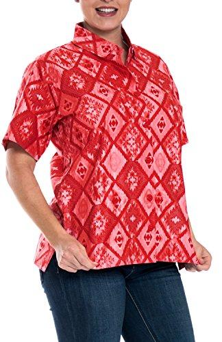 Playa Camisas de vestido hawaiano Tirantes señoras tanque encubrimiento de manga corta mujer roja Rojo