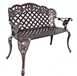 HOMEFUN Cast Aluminum Outdoor Garden Bench Tea Rose Loveseat Weather Resistant Backyard Patio Furniture (Antique Bronze)