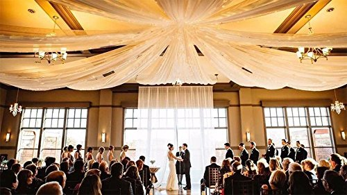WHITE Ceiling Draping Sheer Voile Chiffon Ceiling Drape Panel Wedding (Pewter Corner Connector)