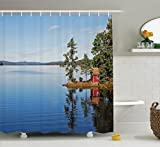 Small Bathroom Decor Ideas Lake House Decor Shower Curtain Set by Ambesonne, Lakeside Photo with Calm Still Water and Small Country House between Trees Peace Art Work, Bathroom Accessories, 84 Inches Extralong, Multi