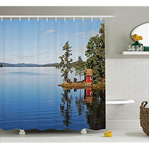 Lake House Decor Shower Curtain Set By Ambesonne, Lakeside Photo With Calm  Still Water And Small Country House Between Trees Peace Art Work, Bathroom  ...