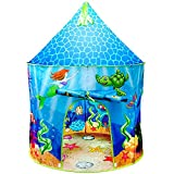 Toys : USA Toyz Mermaid Kids Tent - Under Sea Kids Play Tent, Indoor Playhouse with Pop Up Tent Storage Tote and Kaleidoscope Toy