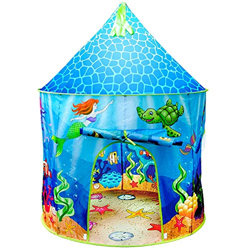 Image of the USA Toyz Mermaid Kids Tent - Under Sea Kids Play Tent, Indoor Playhouse with Pop Up Tent Storage Tote and Kaleidoscope Toy