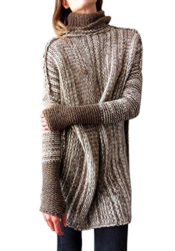 Koitmy Women's Turtleneck Oversized Chunky Knit Slouchy Color Block Sleeve Long Pullover Sweaters Coffee ()