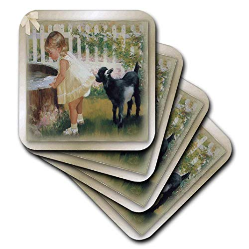 - 3dRose CST_167219_1 Billy Goat and Little Girl Art Soft Coasters, Set of 4