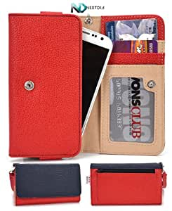 Samsung Galaxy Note 4 Wallet & Wristlet Case    Red and Navy Blue with Credit Card Holder