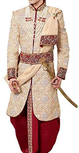 INMONARCH Mens Bollywood Designer Indo Western IN481 52L Cream