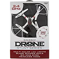 SS360 Drone – Stunt Series Quadcopter with Multicolor LED Lights, Protective Blade Bumpers, 6 Axis Gyro, Rechargeable Li-Polymer Battery, and 2.4 GHz Interference-Free Transmitter Remote Control