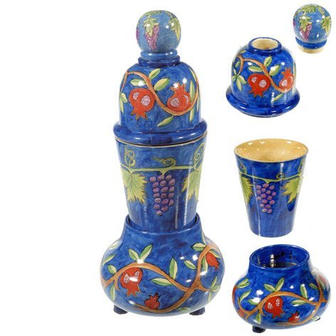 Yair Emanuel Travel Shabbat and Havdalah Set with Pomegranates Design by World Of (Wood Havdalah Set)