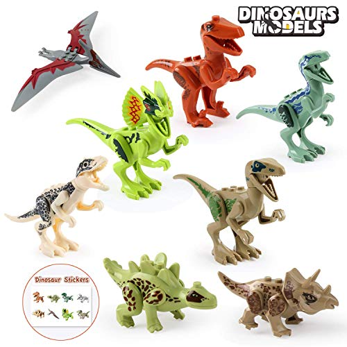Beebeerun 8pcs Dinosaur Toys Figure STEM Building Blocks Toys with Movable Jaws and Unique Stickers Best Toys Gifts for 3 4 5 6 7 Years Old Kids Boys Girls ()