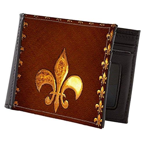 CafePress - Old Leather With Gold Fleur-De-Lys - Mens Wallet, Bi-fold Wallet, Billfold Money Holder