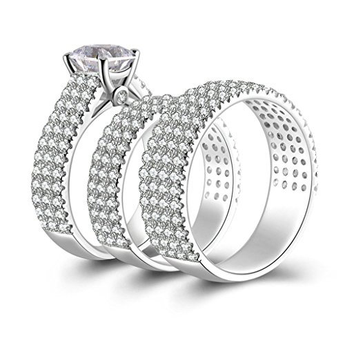 Beydodo (Promise Ring) Silver Ring Women Wedding Rings and Bands CZ Triple Rings Size 9.5 by Beydodo