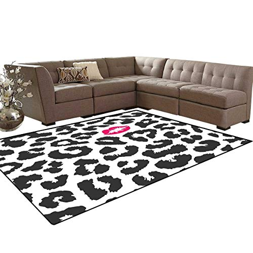 (Safari Anti-Skid Area Rugs Leopard Cheetah Animal Print with Kiss Shape Lipstick Mark Dotted Trend Art Customize Door mats for Home Mat 6'x8' Charcoal Grey Pink)