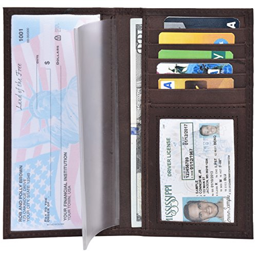 Leather Checkbook Cover Holder for Women - Standard Check book Register Covers with Duplicate Checks Blocking for (Standard 100 Card)