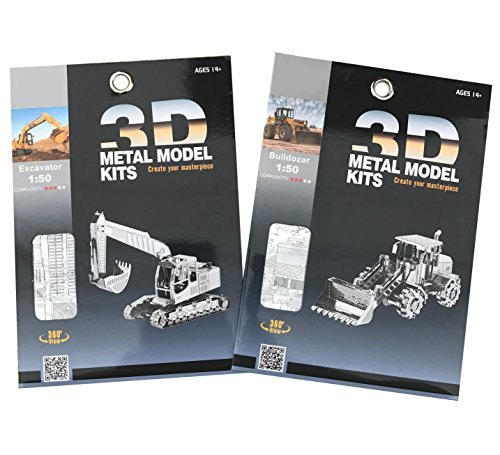 Laser Cut 3D Metal Models Of Construction Trucks: 2 Piece Set, 1 Excavator Tractor and 1 Front Loader