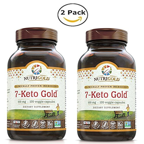 NutriGold 7-Keto Gold for Enhanced Metabolism and Healthy BMI (100 mg, 120 Veggie Capsules) Pack of 2 by NUTRIG0LD